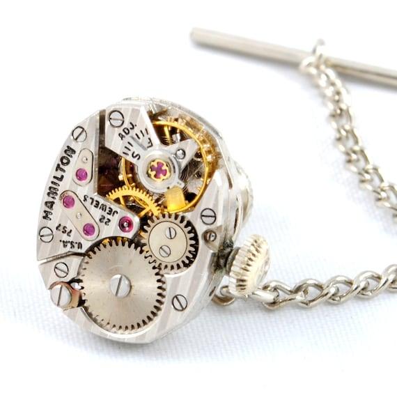 STRIPED Steampunk Tie Tack HAMILTON Steampunk Watch Silver Gold Men Tie Pin Wedding Tie Pin Victorian Steampunk Jewelry VictorianCuriosities