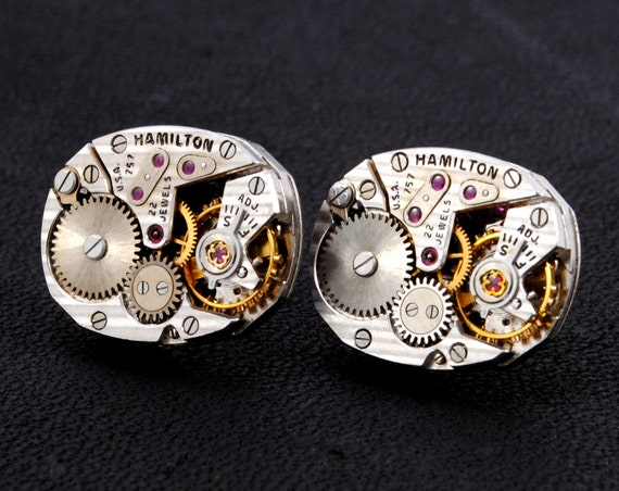 GORGEOUS Steampunk Earrings, HAMILTON Steampunk Jewelry Vintage Watch Earrings Silver SOLDERED Steampunk Jewelry by Victorian Curiosities
