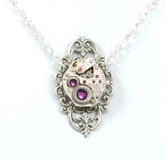 Steam Punk Necklace Steampunk Necklace Vintage Watch Necklace Gorgeous Petite Silver Amethyst Steampunk Jewelry By Victorian Curiosities