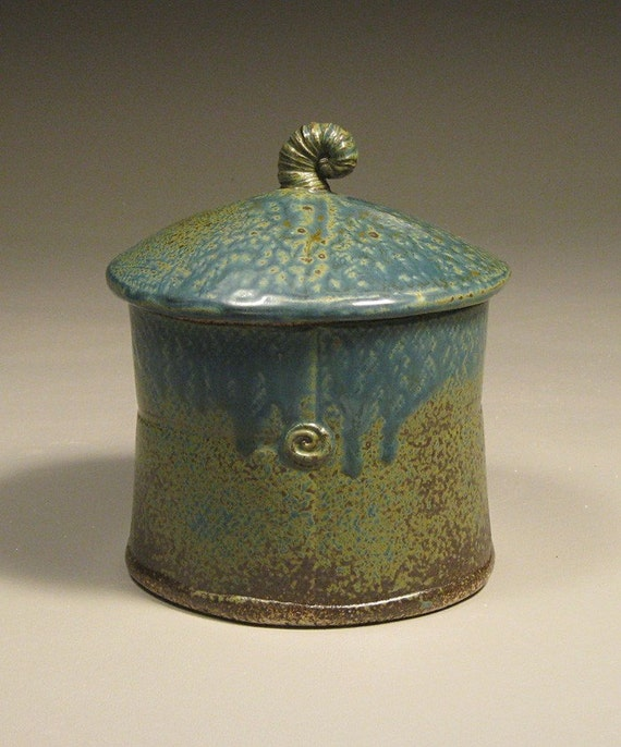 Small Blue Pottery Canister by Cynthia Spencer