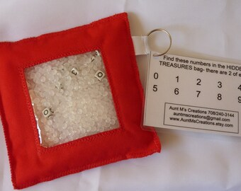 HIDDEN TREASURE bags. I Spy bags. NUMBERS theme edition. Red.