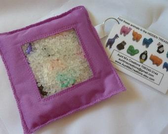 HIDDEN TREASURE bags. I Spy bags. ZOO animals theme edition. Violet Purple.