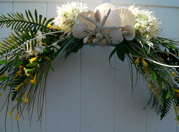 Beach Wedding Arch with Starfish and Sand Dollars
