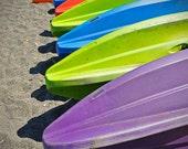 5x7 Rainbow Kayaks Photo Print, fine art, waiting for summer, colorful