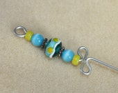 Beaded Orifice Hook in teal and yellow