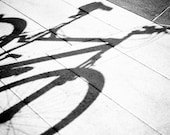 Let's go for a ride - 8x10 or 8x12 - Bicycle shadow on the sidewalk fine art photograph