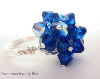 Blue Sapphire Cluster Ring, Swarovski Crystals, Wire Wrapped Ring, Virgo, September Birthday