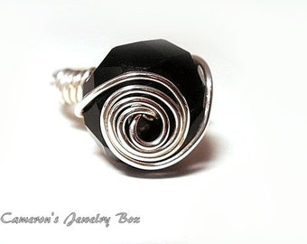 Black Onyx Ring, Wire Wrapped, Cocktail Ring, Beaded Swarovski Crystal Swirled Illusion Ring, Black Ring