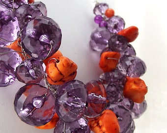 Orange & Purple Necklace, Statement Necklace, Beaded Wire Crochet, Chunky High Fashion Necklace, Orange and Purple Jewelry