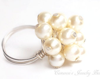 Silver White Pearl Ring, Cluster Pearl Ring, Swarovski Pearls, Bridesmaid Gift, Wedding Jewelry