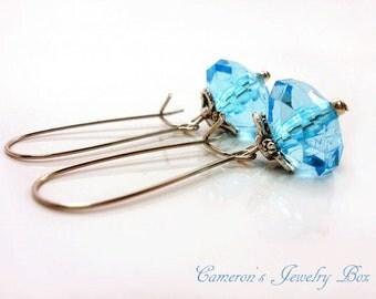 Blue Drop Earrings, Aquamarine Earrings,  Bridesmaids Earrings, March Birthstone, Spring Wedding Jewelry