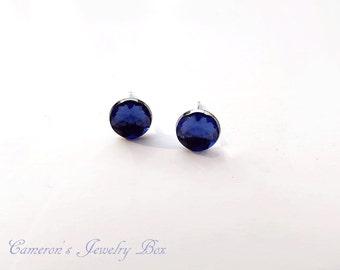 Blue Sapphire Stud Earrings, Silver Post Earrings, Blue Rhinestone Earrings, September Birthstone, Bridesmaid Earrings