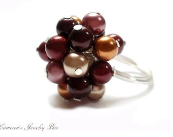 Beaded Statement Ring, Swarovski Pearl Cluster Ring, Wire Wrapped, Colorful Cocktail Ring, Fall Autumn Jewelry