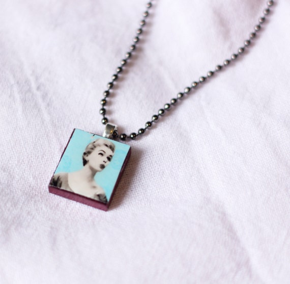 RESERVED -  Upcycled Scrabble Tile Vintage Retro Housewife Girl Pendant