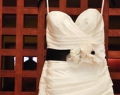 Bridal Sash with Three Handmade Flowers in Ivory