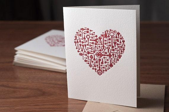 Key To My Heart Letterpress Card