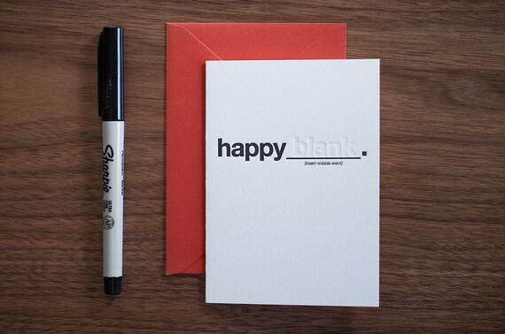 """Happy """"blank"""" Letterpress Card"""