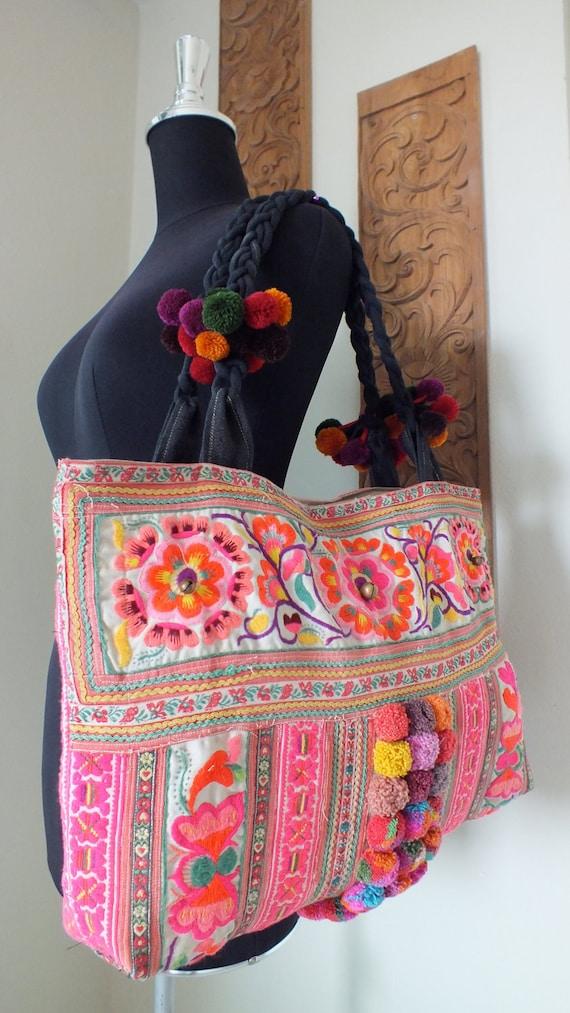 Drawstring Tote Bag Asanoha Pattern Japanese style fabrics