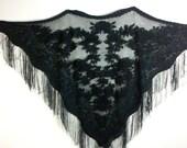 Black Rose Fringe Vintage Lace Gypsy Shawl