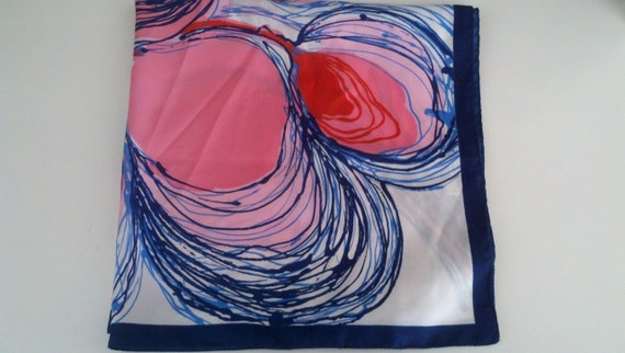 Vintage Pop Art Scarf - Made in Italy Red Pink Blue