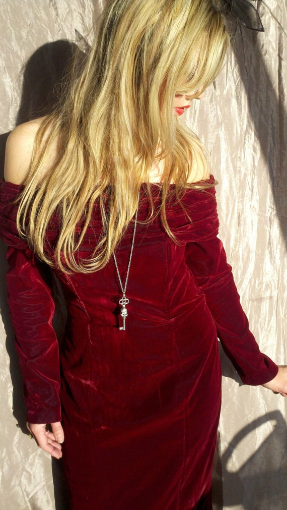 Femme Fatale Red Wine Velvet 80s Party Dress By