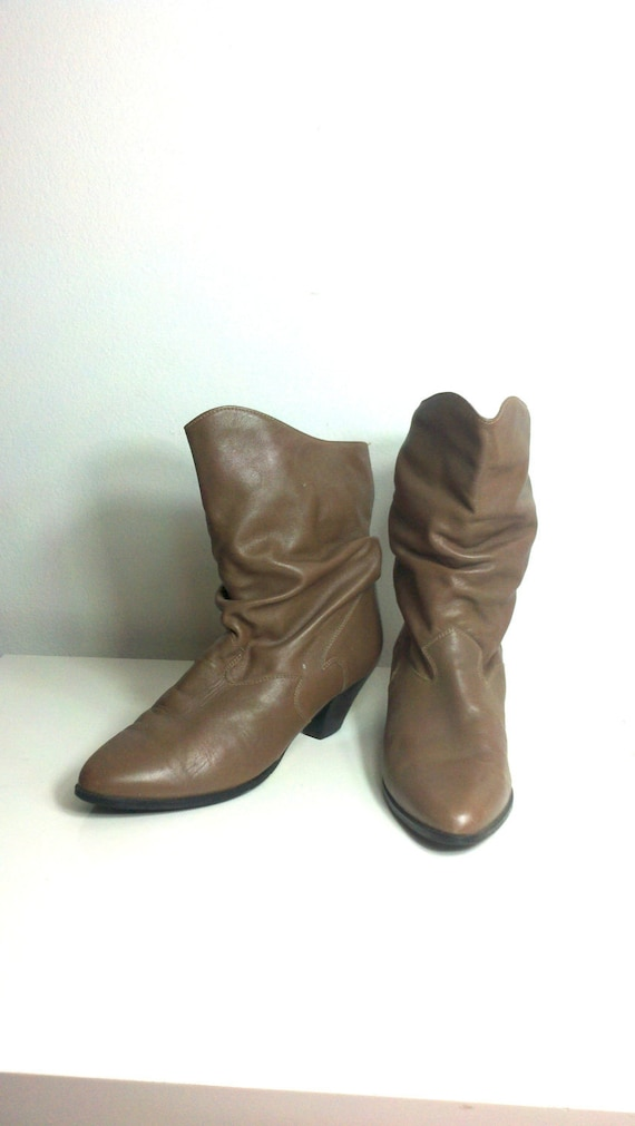 Vintage 80s Booties Taupe Babe Boots