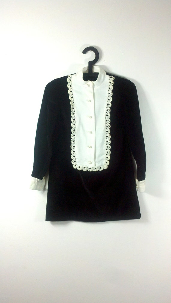 Black Velvet Mia Mini Dress Bib Collar Tunic