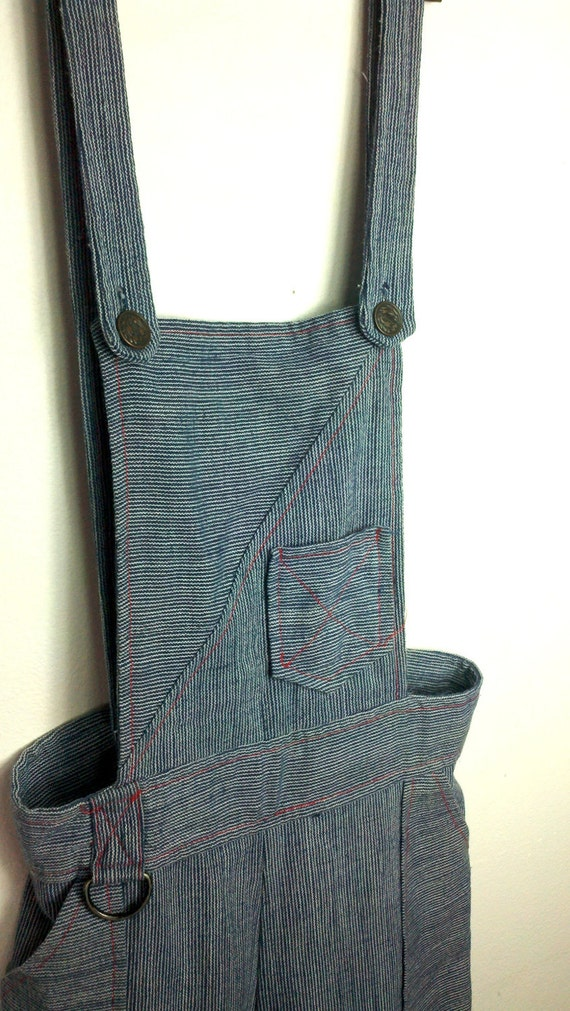 Vintage 1970s Overalls Bib Engineer Wide Leg Denim