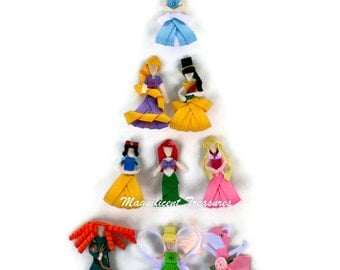 Princess Inspired Ribbon Sculptures You Choose 5 Hair Clips, Get a 6th Mystery Princess FREE