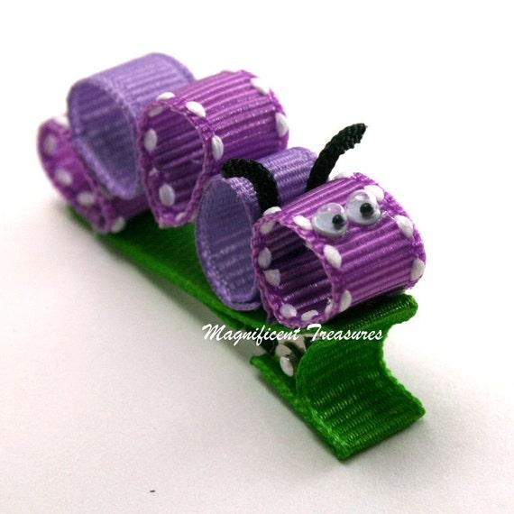 Purple Caterpillar Ribbon Sculpture Hair Clip