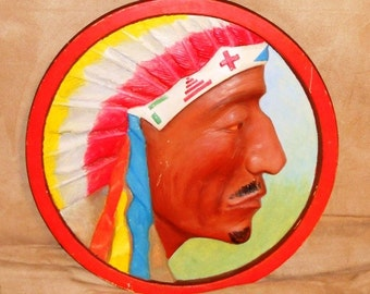 Large Porcelian Indian Chief Head
