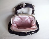 Black Velvet Gap Purse Upcycled with Sterling Silver Heart and Silver Spring Rhinestones