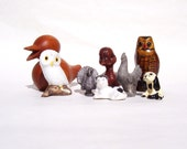 Vintage Collection of Miniature Animals Bone China Wise Ole Owls, China Cat, Composit Duck and Dog, Wood Duck, Pewter Chicken and Turkey