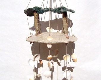 "Ceramic Seashell Wind Chime Hand Sculpted Palm Trees Art Stoneware by Linda Sapp Long  ""Barefoot Island"""