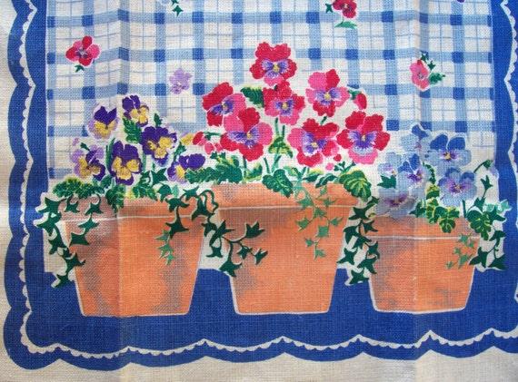 Vintage Linen Kitchen Towel Garden Pots of Pansies New Old Stock