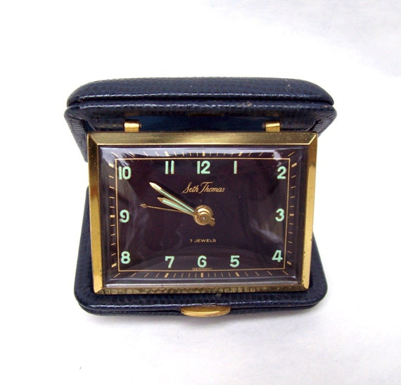Vintage Seth Thomas Travel Alarm Clock Gold Tone and Navy Blue Leather Illuminated Numbers / Hands Made In Germany Works Great