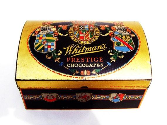 1920s Whitman's Prestige Chocolates Candies Box Tin Package One Pound Net Stephen F. Whitman & Son, Inc.