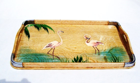 Vintage Wooden Tray Handpainted with Flamingos in Water under the Palm Tree Fronds 1950's Florida