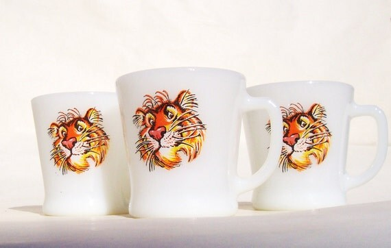 """3 Vintage Fire King Advertising Mugs """"Put A Tiger In Your Tank"""" Humble Oil - Enco - Esso - Exxon Mobil"""