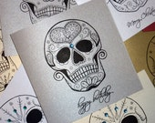 Tattoo Style Sugar Skull Birthday Card