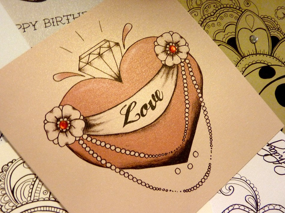 Tattoo style diamond heart valentine card by for Valentine s day tattoos