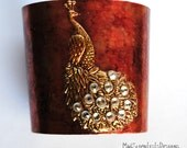 RESERVED FOR PHI Peacock Cuff With Swarovski Crystals by MadScientistsDesigns