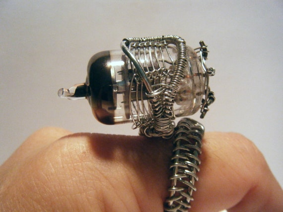 RESERVED Resistance is Futile - Claudia Inspired OOAK Steampunk Coil Ring 006  - Charity