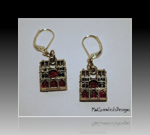 RESERVED - FREE SHIPPING Gothic Cathedral Earrings 001 Notre Dame Cathedral Goth Vampire Victorian Silver Red by MadScientistsDesigns