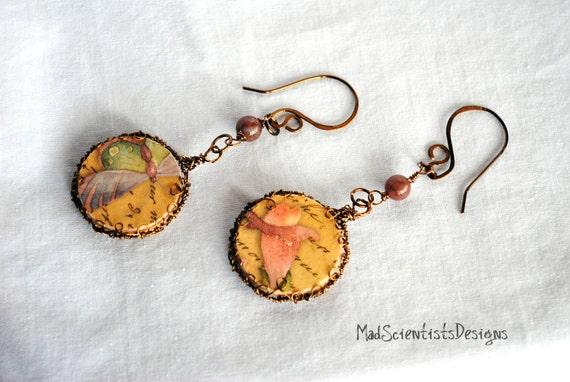 RESERVED - Victorian Decoupage Earrings - Butterflies & Flowers