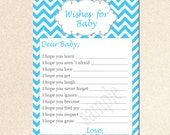 Wishes for Baby Card - New Baby Messages Well Wishes Card Aqua Blue Chevron Fun Shower Party Game Activity INSTANT DOWNLOAD