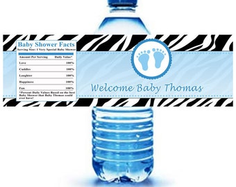 Printable Personalized Zebra Feets Water Bottle Labels Wrappers - Birthday Party Baby Shower Blue Boy Custom Wraps