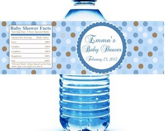 Printable Personalized with Name Blue Polka Dots Water Bottle Labels Wrappers - Birthday Party Baby Shower Boy Custom Wraps