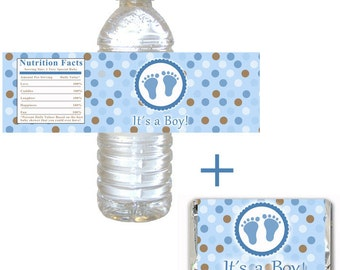 INSTANT DOWNLOAD - Printable Baby Boy Shower Its a Boy Bottle Label and Candy Wrapper - Wraps Blue Brown Polka Dots