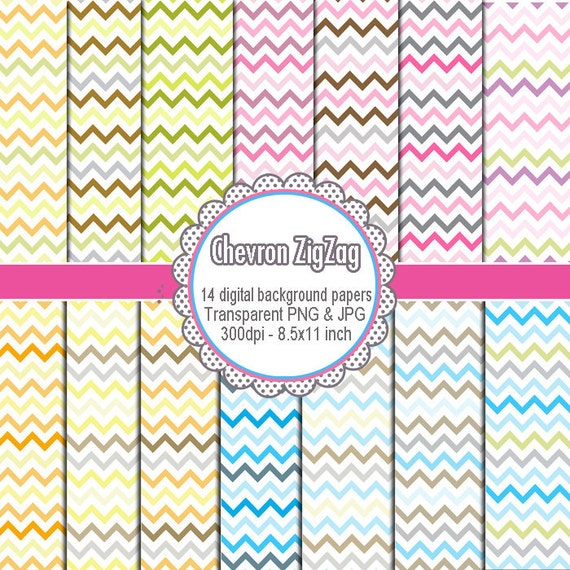 Chevron Clipart - Printable Craft Paper Scrapbook Graphic Design INSTANT DOWNLOAD